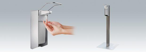 Elleboog Desinfectie dispenser op RVS-zuil